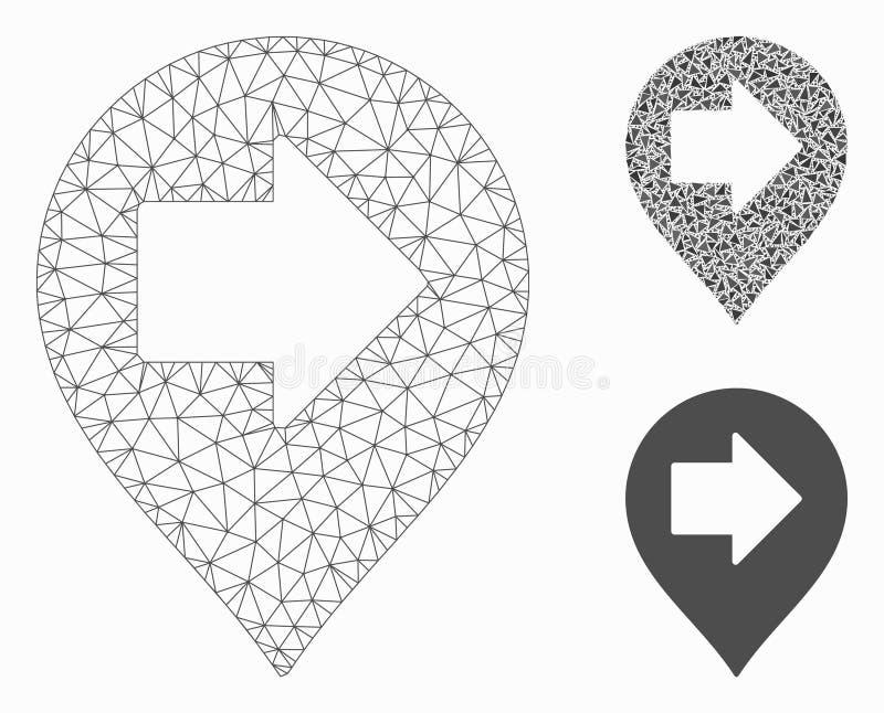 Prawej strzały markiera siatki sieci trójboka i modela mozaiki Wektorowa ikona ilustracji