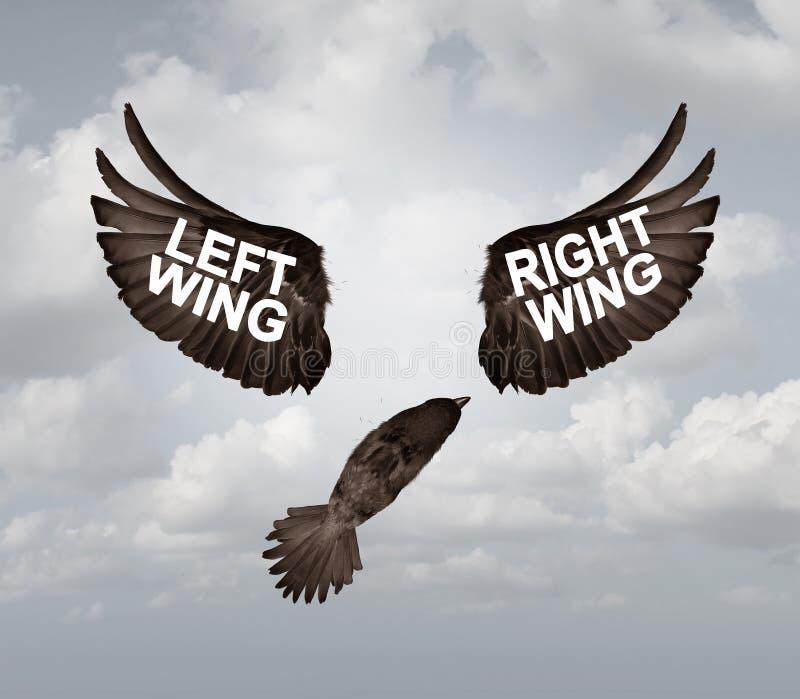 Prawica I lewe skrzydło partii Polityczny problem ilustracja wektor