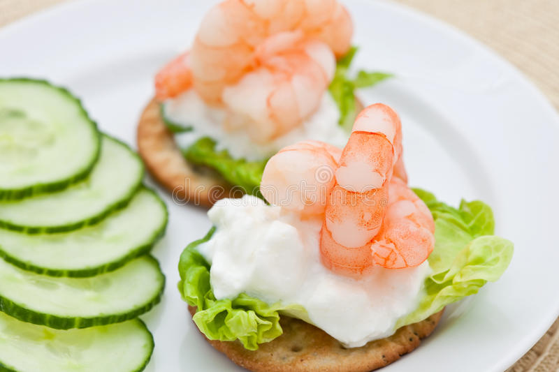 Prawn cocktail appetizer with cottage cheese royalty free stock photos