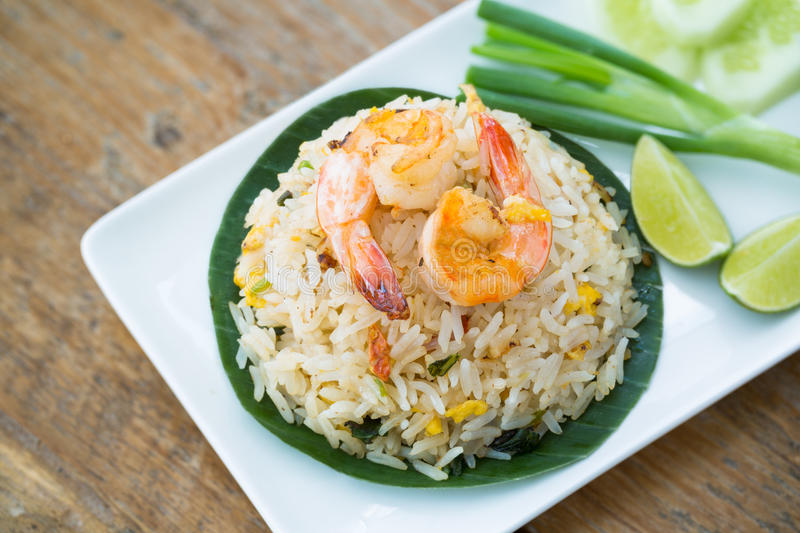 Prawn fried rice. royalty free stock photo