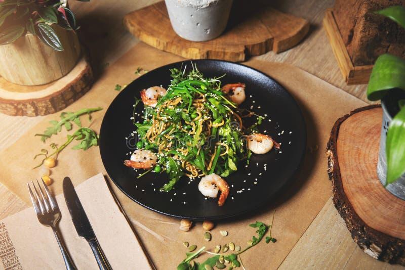 Prawn and rice noodle salad stock photos