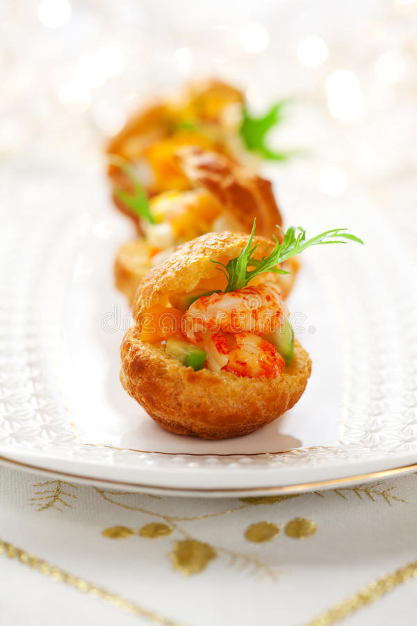 Prawn salad in mini-brioche for holiday royalty free stock photos