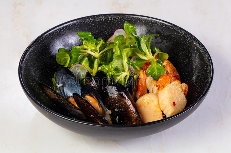 Prawn, scallops and mussels stock images