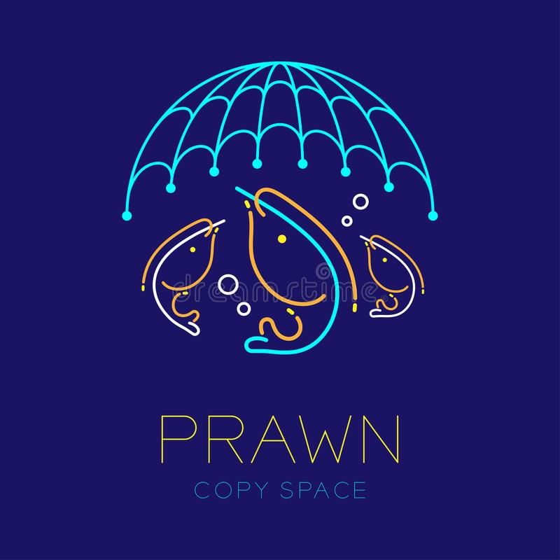 Prawn or shrimp, Fishing net and Air bubble logo icon outline stroke set dash line design illustration. Isolated on dark blue background with prawn text and vector illustration