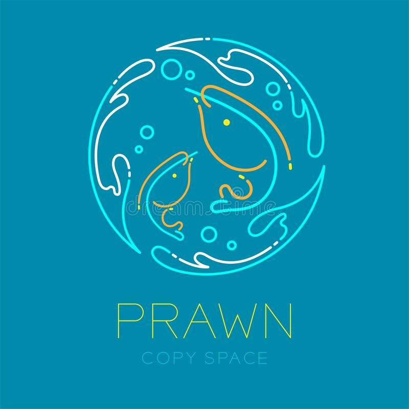 Prawn or shrimp, Water splash circle frame shape and Air bubble logo icon outline stroke set dash line design illustration. Isolated on blue background with royalty free illustration