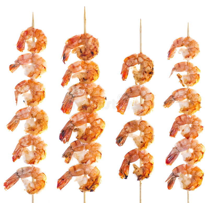 Prawn Skewer isolated on white royalty free stock image