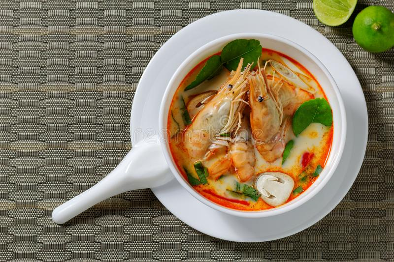 Prawn spicy and sour soup tom yum kung,Thai food.  stock photos