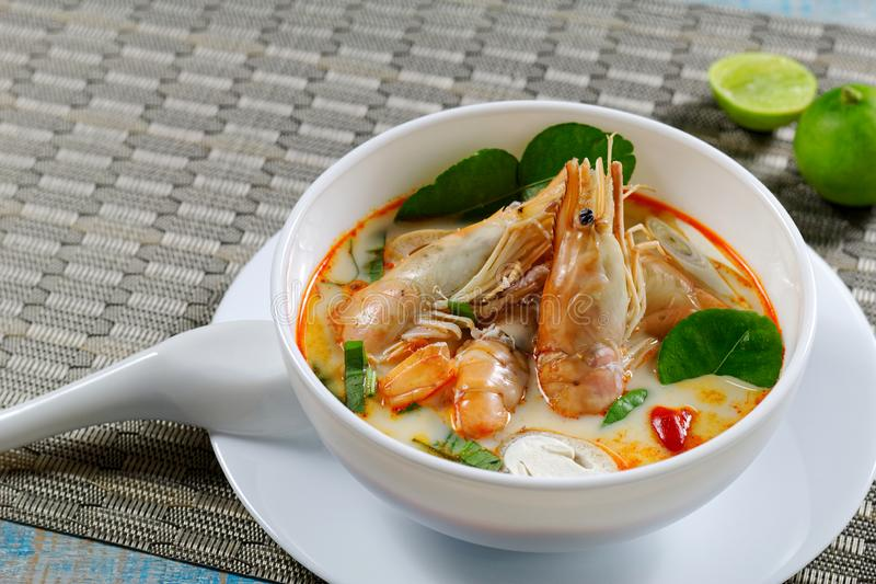 Prawn spicy and sour soup tom yum kung,Thai food.  stock photography
