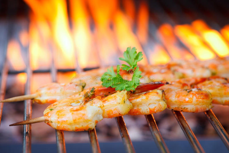 Download Prawn spit on grill stock image. Image of char, delicious - 25405207