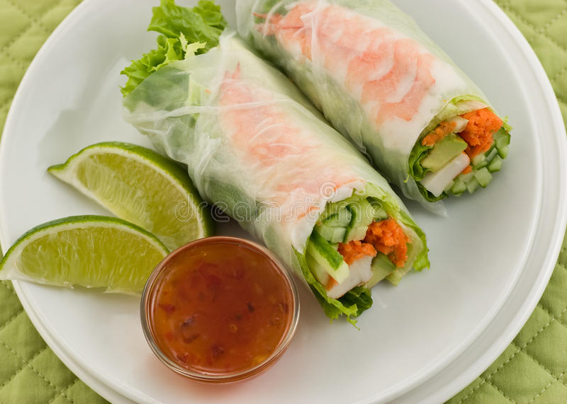Download Prawn Summer Roll sushi stock image. Image of lettuce - 21951499