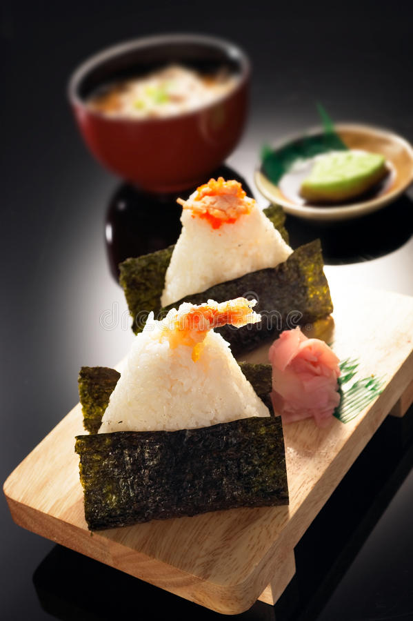 Prawn Sushi. Served On a wooden plater royalty free stock photo