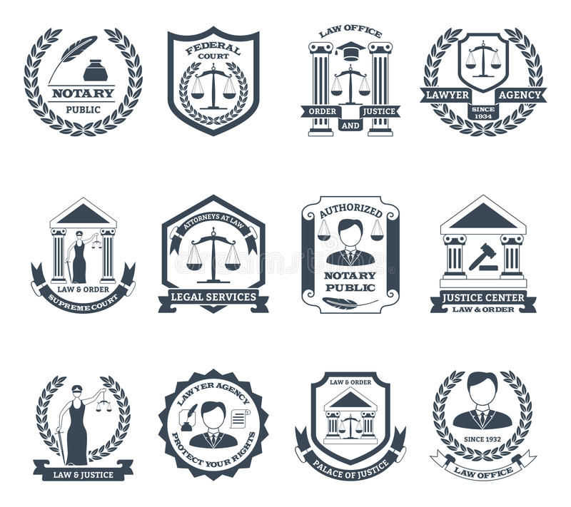 Prawnika loga Czarny Biały set ilustracji
