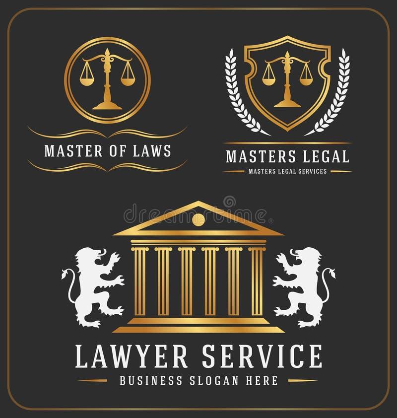 Prawnika loga usługowy biurowy szablon royalty ilustracja
