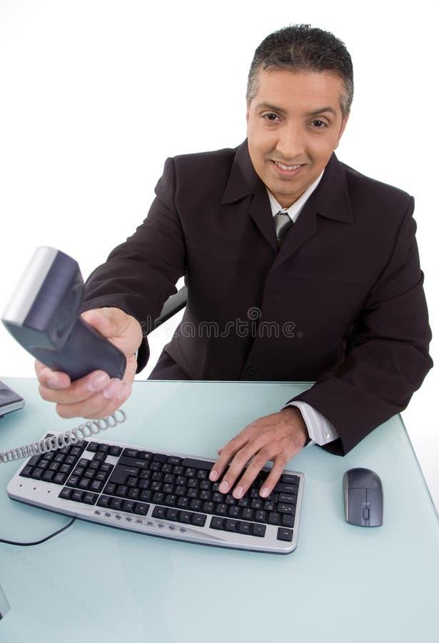 prawnika ofiary telefonu uśmiechnięty odgórny widok obraz royalty free