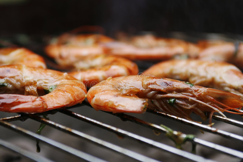 Prawns on barbecue royalty free stock photo