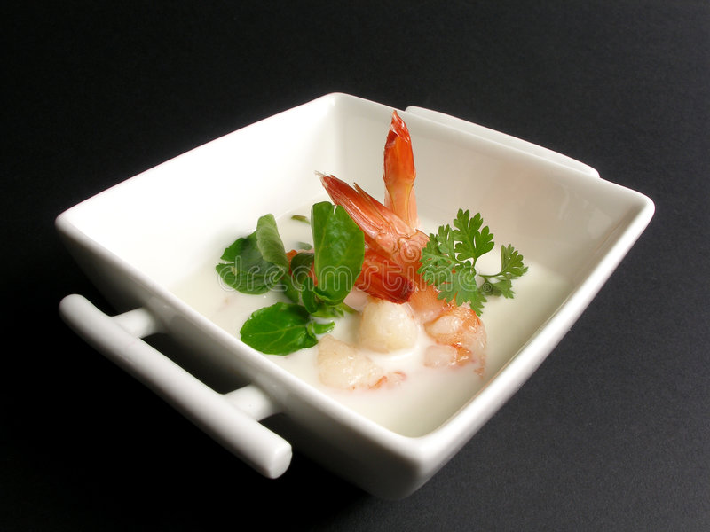 Prawns and coconut milk soup stock images