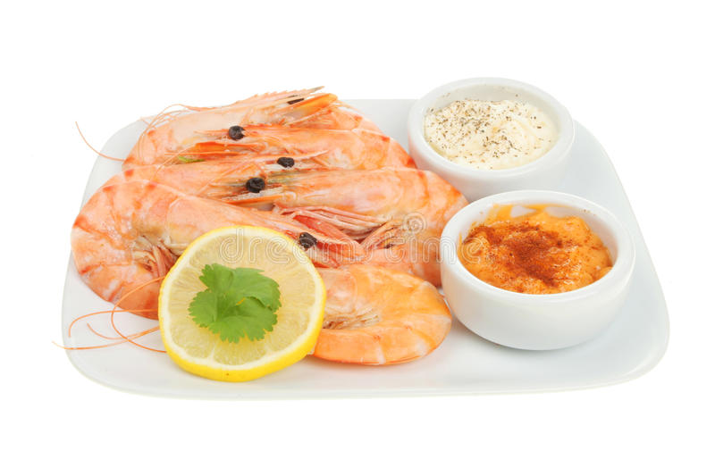Prawns with dips royalty free stock photography