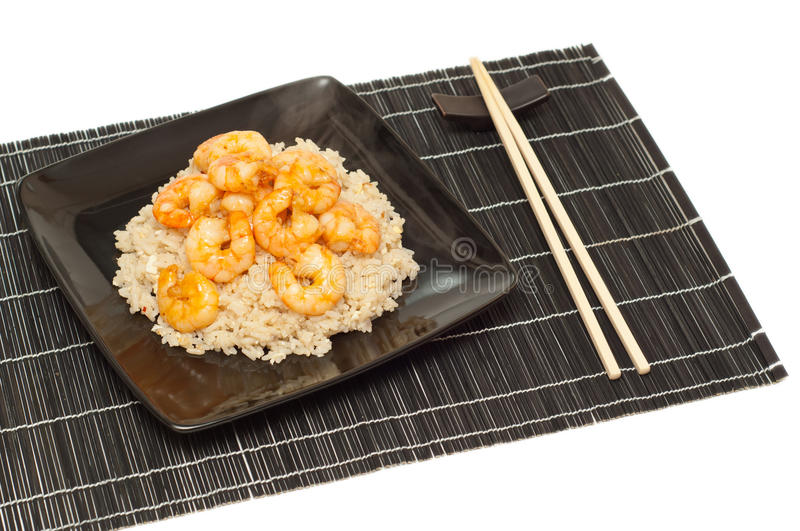 Download Prawns And Fried Rice On A Mat Stock Image - Image: 17943171