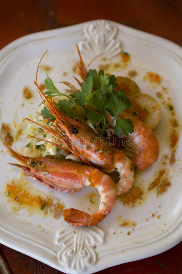 Prawns On A Plate Stock Images