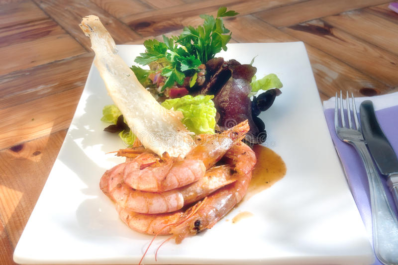 Download Prawns with salad stock image. Image of platter, plate - 23898427