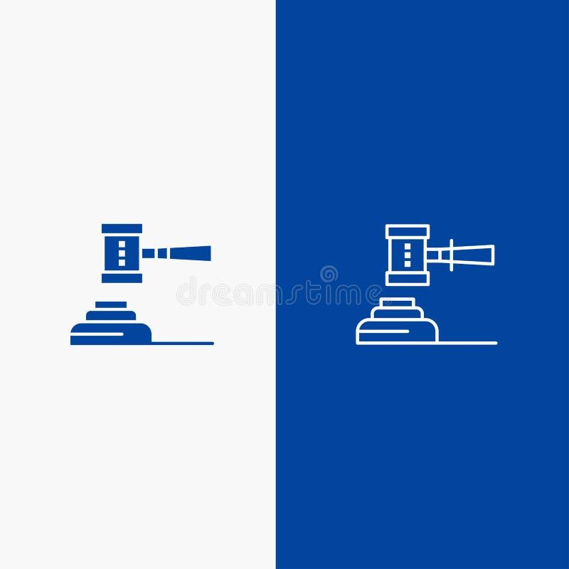 Prawo, akcja, aukcja, sąd, młoteczek, młot, sędzia, Błękitnej ikony Stały błękit, Legalnej linii, glifu Stałej ikony sztandaru gl royalty ilustracja