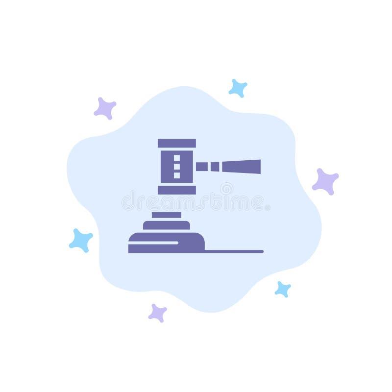 Prawo, akcja, aukcja, sąd, młoteczek, młot, sędzia, Legalna Błękitna ikona na abstrakt chmury tle royalty ilustracja