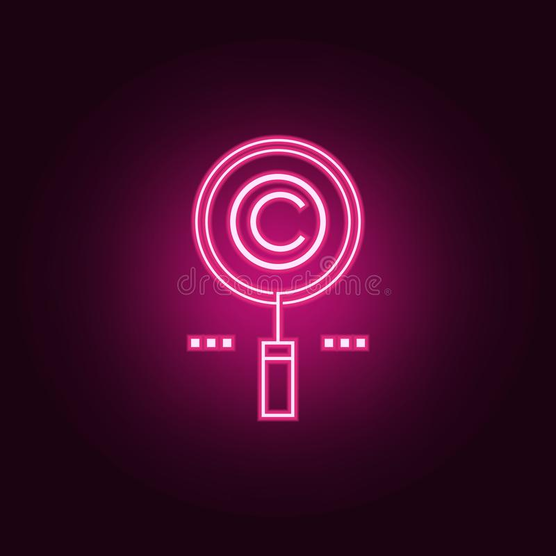 prawo autorskie rewizji neonowa ikona Elementy sie? set Prosta ikona dla stron internetowych, sie? projekt, mobilny app, ewidency ilustracji