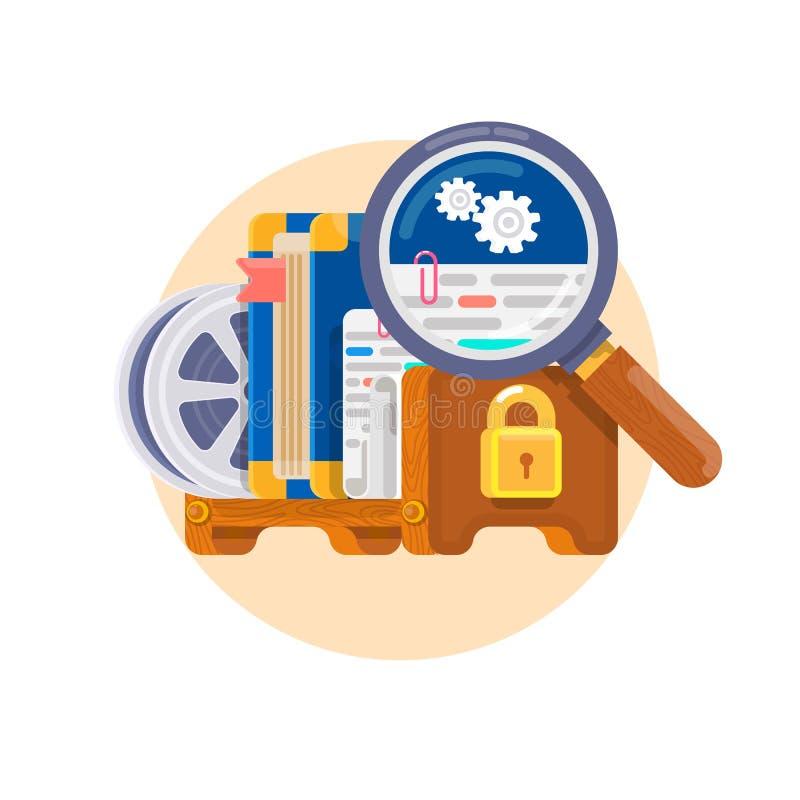 Prawo do własności intelektualnej Pojęcie dla prawa autorskiego dla oprogramowania, książki, film, opatentowywa etc Patent i konc ilustracja wektor