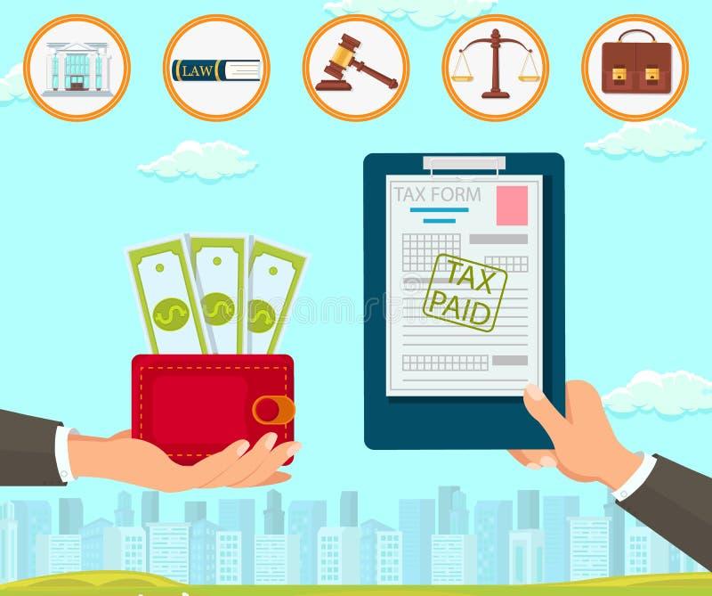 Prawo Firma Utrzymuje dokumentu podatku formy dolara royalty ilustracja
