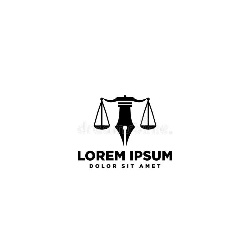 Prawo i firma logo pojęcie tylny i biały ilustracja wektor