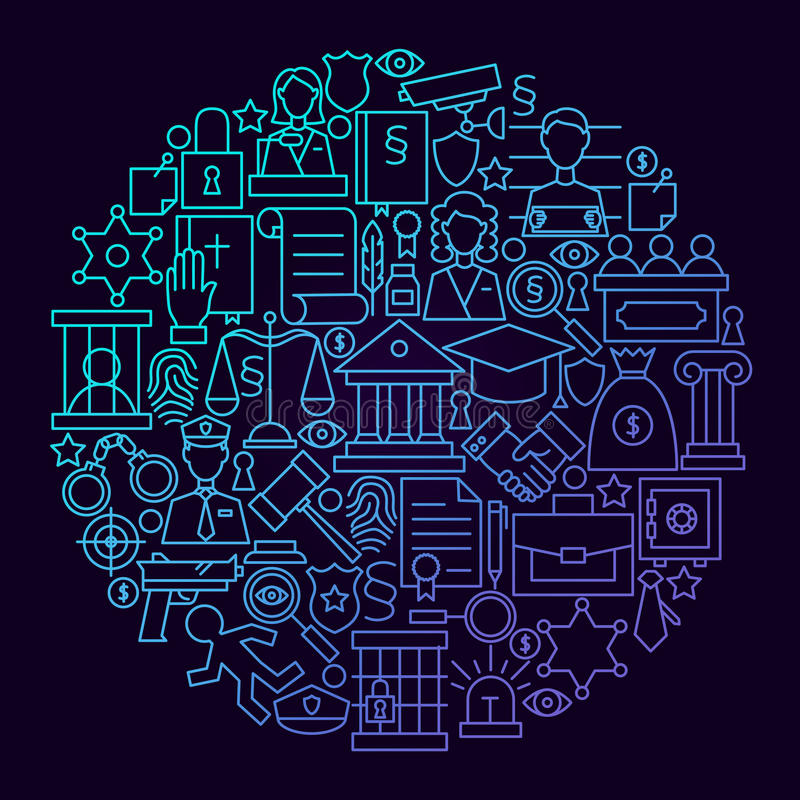 Prawo ikony okręgu Kreskowy pojęcie ilustracja wektor