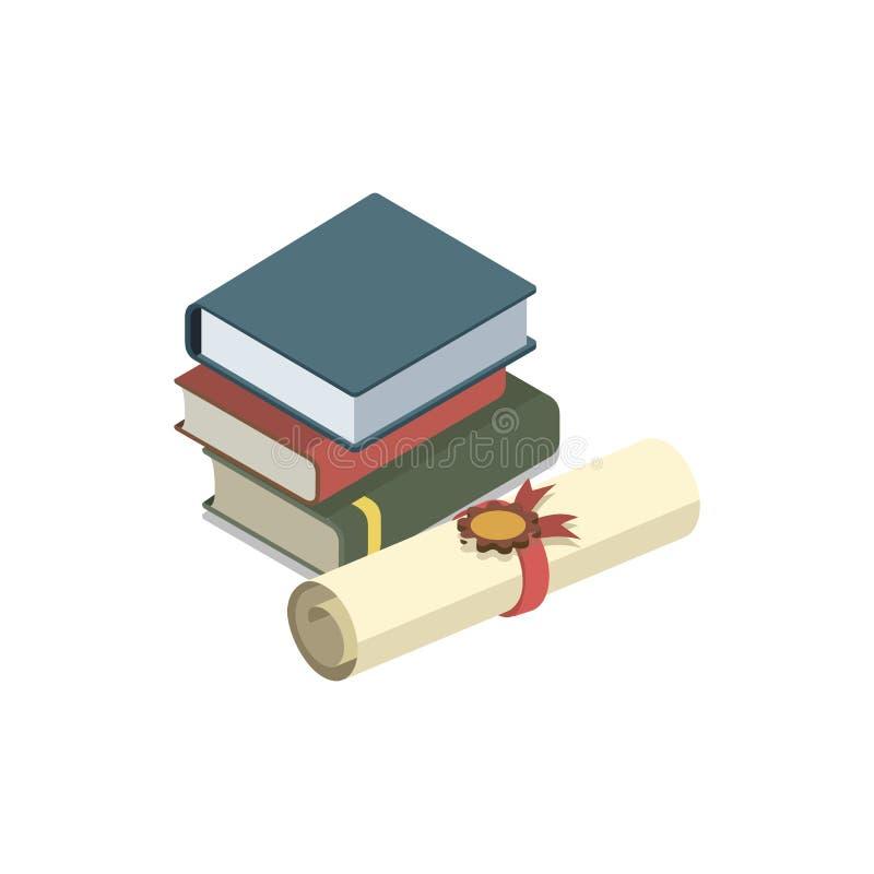 Prawo książek isometric 3D elementy ilustracji