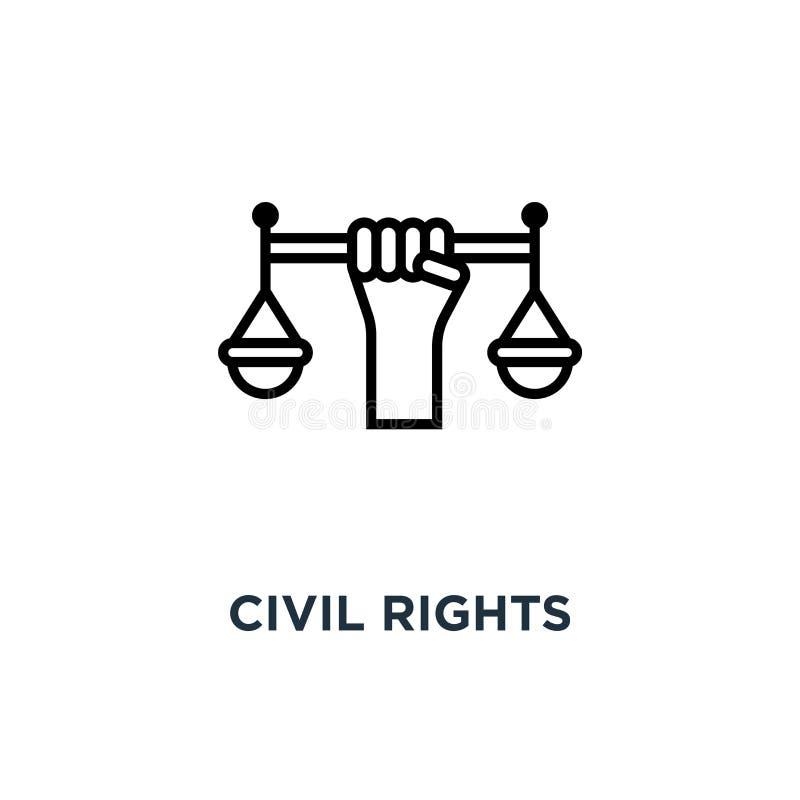 prawo obywatelskie ikona prawa obywatelskiego pojęcia symbolu projekt, wektor il royalty ilustracja