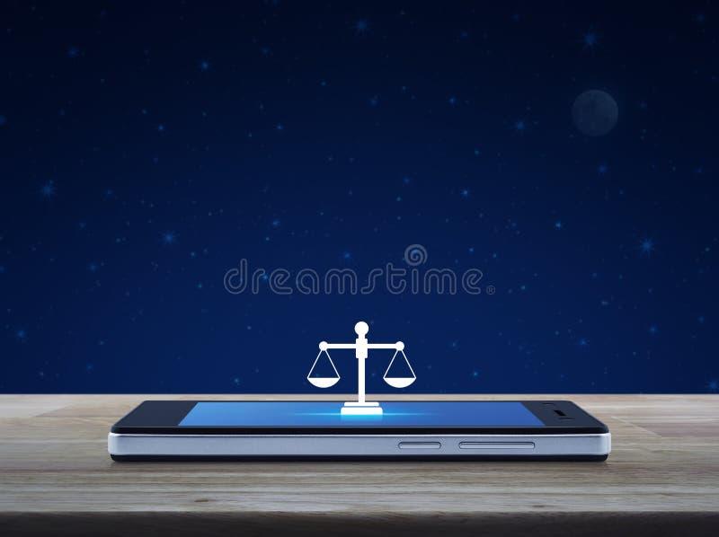 Prawo płaska ikona na nowożytnym mądrze telefonu komórkowego ekranie na drewnianym stole nad fantazji nocnym niebem i księżyc, Bi ilustracja wektor