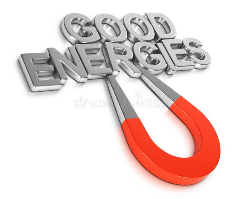 Prawo przyciąganie, Przyciąga Pozytywne energie ilustracja wektor