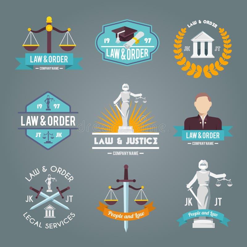 Prawo przylepia etykietkę ikony ustawiać ilustracja wektor