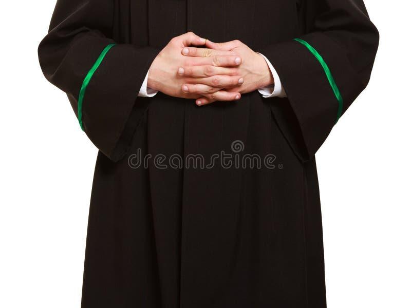 prawo Ręki mężczyzna prawnika adwokat w połysk todze zdjęcia royalty free