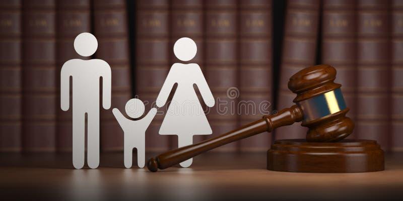 Prawo rodzinne Młoteczek i kształty mężczyźni, kobiety i dziecko z książkami, ilustracja wektor