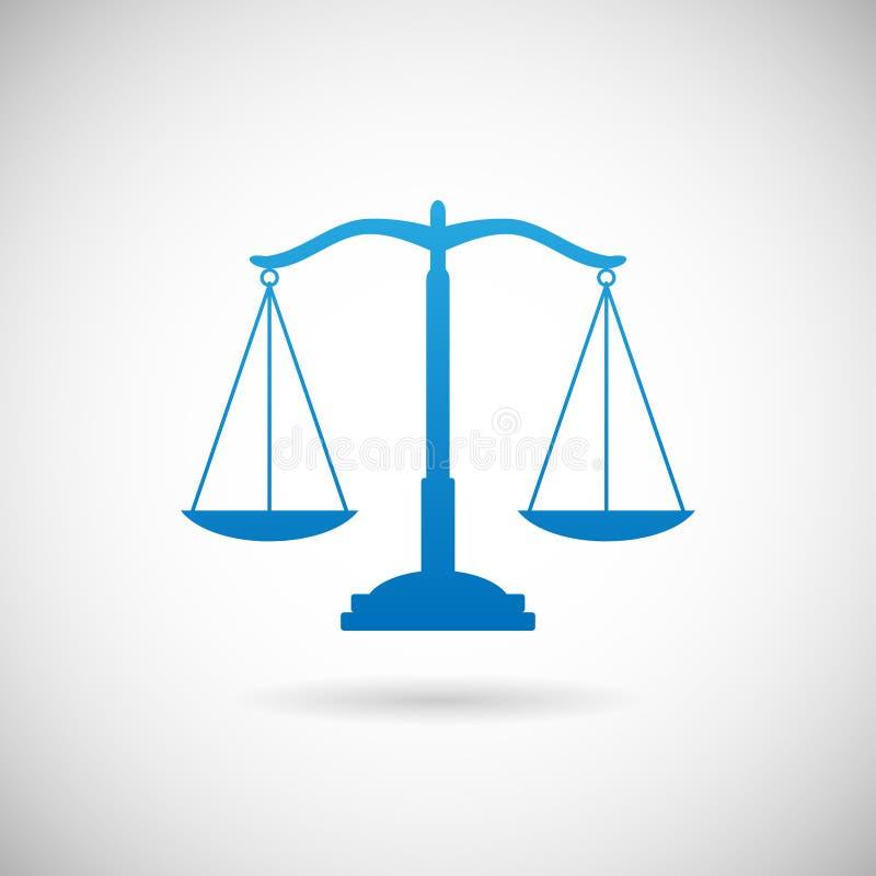 Prawo symbolu sprawiedliwość Waży ikona projekta szablon na Popielatej tło wektoru ilustraci royalty ilustracja