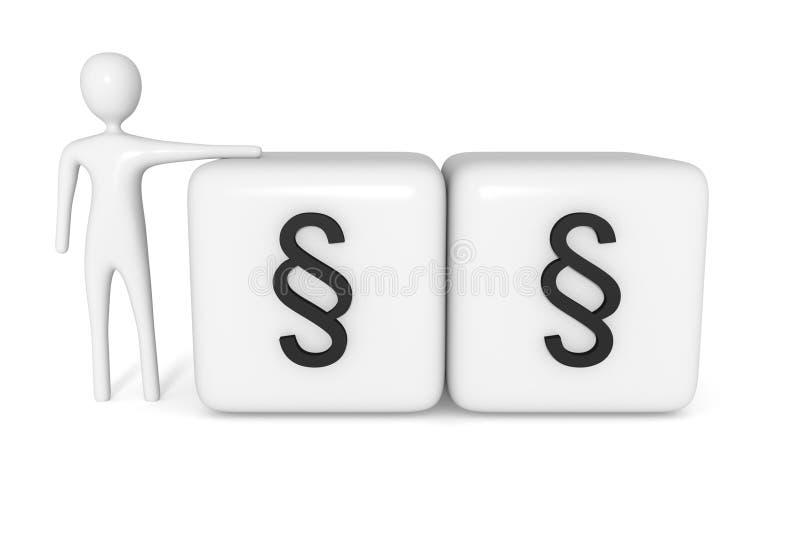 Prawo: sześciany z sekcją podpisują z białym 3d mężczyzną ilustracji