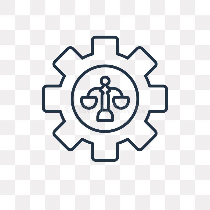 Prawo wektorowa ikona odizolowywająca na przejrzystym tle, liniowy prawo t royalty ilustracja
