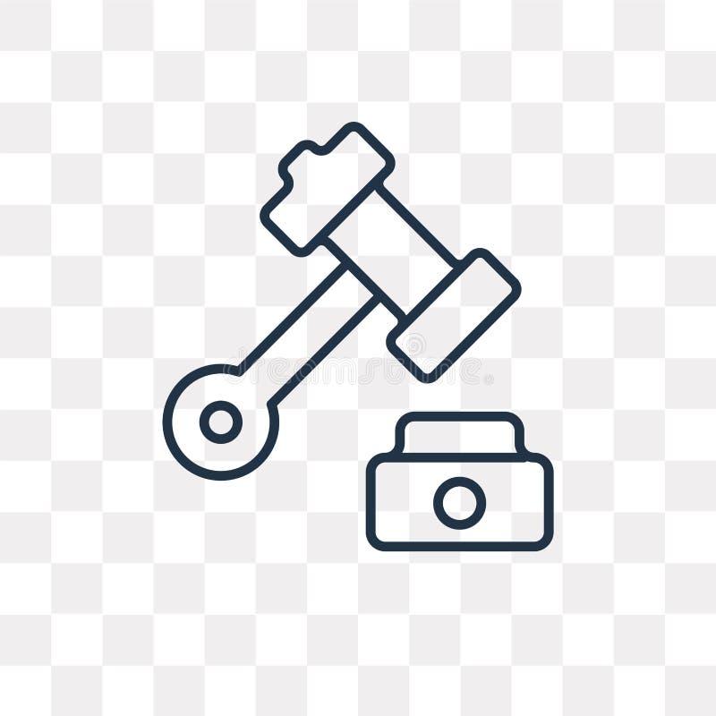 Prawo wektorowa ikona odizolowywająca na przejrzystym tle, liniowy prawo t ilustracji