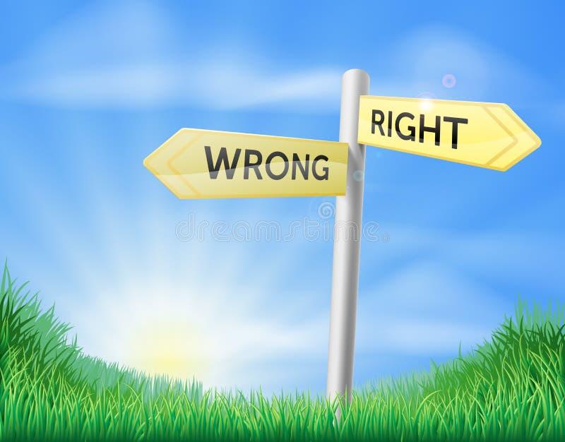 Prawy lub mylny decyzja znak ilustracji
