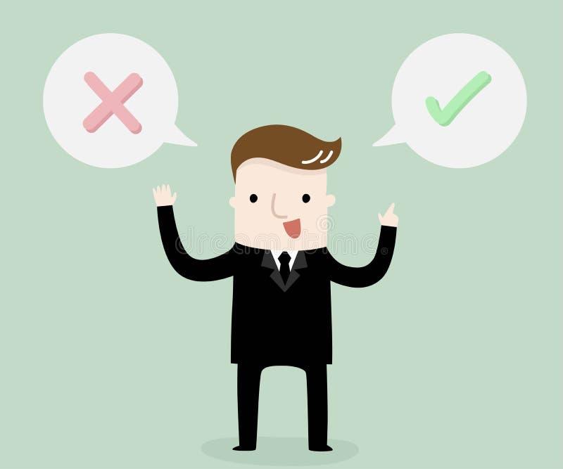 Prawy lub mylny my?l?cy biznesowy poj?cie ilustracji