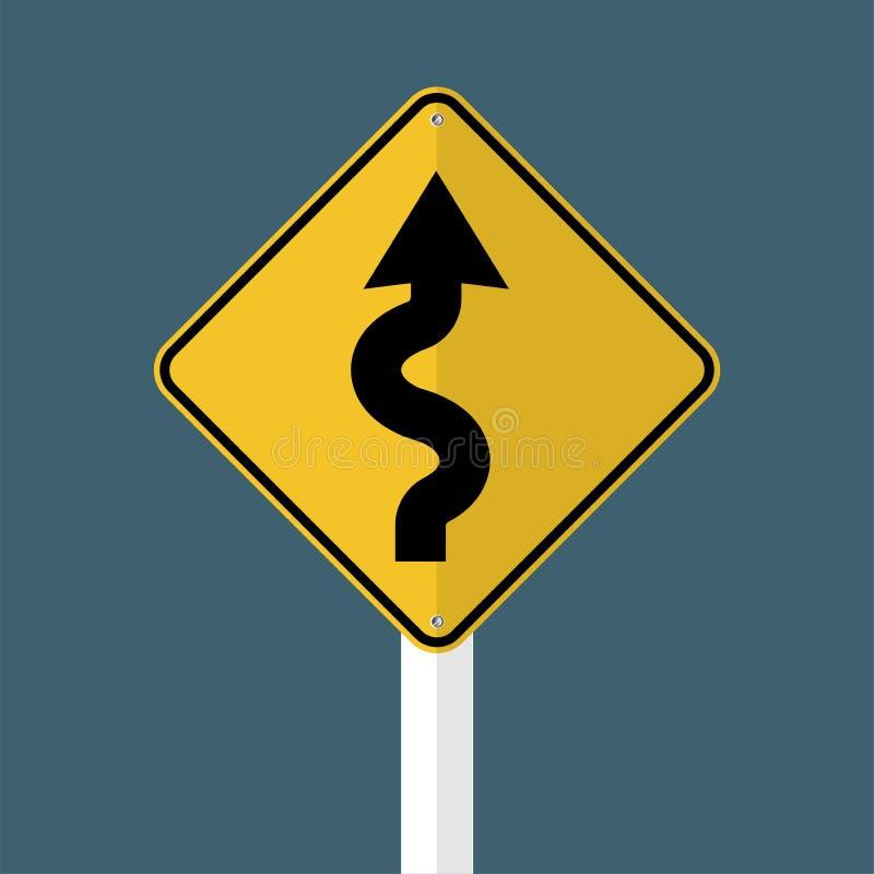 Prawy wijący drogowy znak odizolowywający na popielatym nieba tle również zwrócić corel ilustracji wektora ilustracji