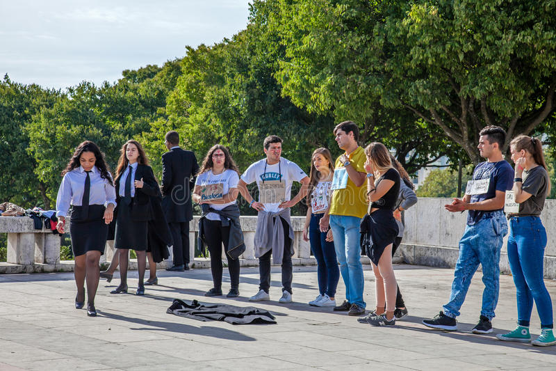 The Praxe, a ritual initiation. Lisbon, Portugal - October 19, 2016: The Praxe, a ritual initiation where University Freshmen are welcomed by veterans royalty free stock images