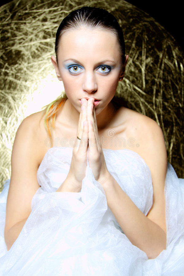 Download Pray stock photo. Image of cold, invoke, brunette, gorgeous - 6695588