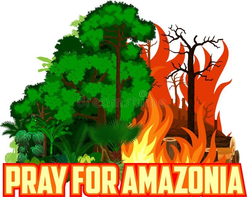 Pray for Amazonia Save Green Jungle Rainforest - Deforestation Concept Landscape Vector vector illustration