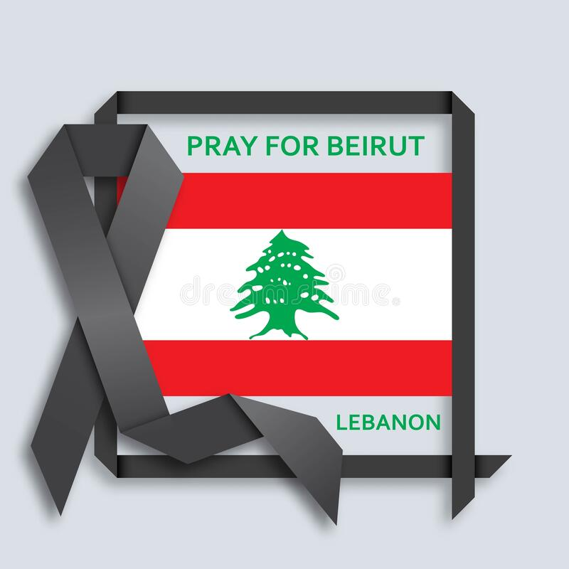 Free Pray For Beirut Background With Black Ribbon And Flag Stock Images - 192695144