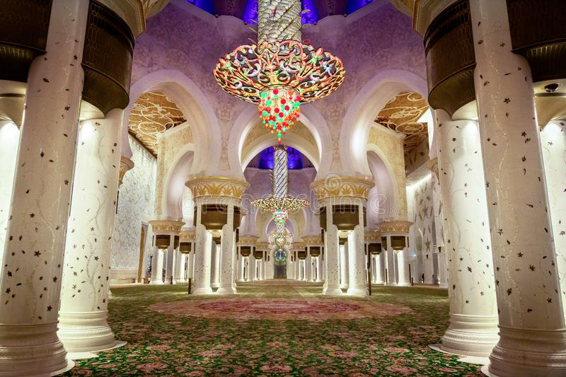 Abu Dhabi, United Arab Emirates - March 12th, 2019: Pray hall of Sheikh Zayed Grand Mosque after Evening pray royalty free stock images